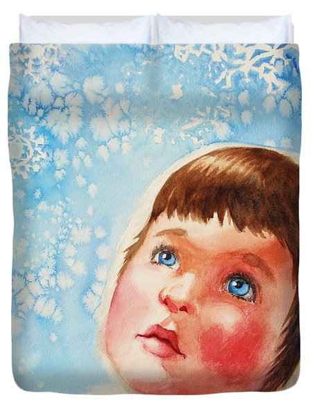 First Snowfall Duvet Cover by Marilyn Jacobson