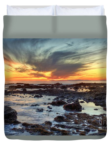 First Sunset Of 2016 Duvet Cover by Eddie Yerkish