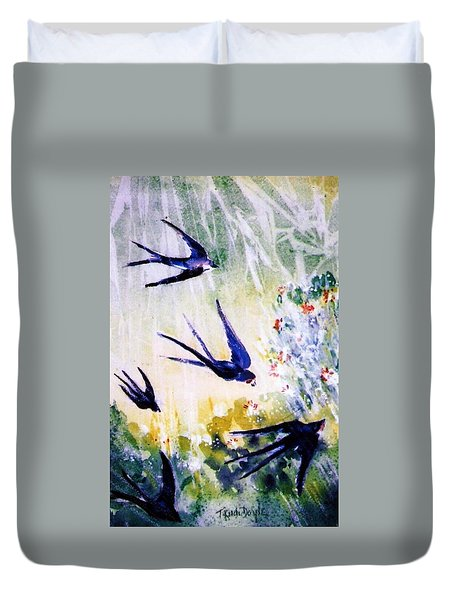 First Swallows Of Summer  Duvet Cover by Trudi Doyle