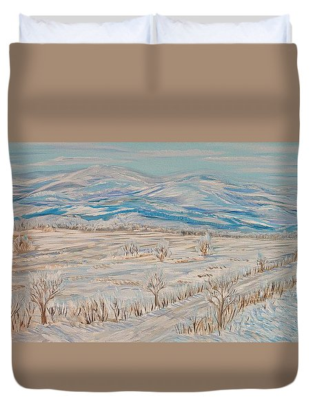First Time... Winter Memories Duvet Cover by Felicia Tica