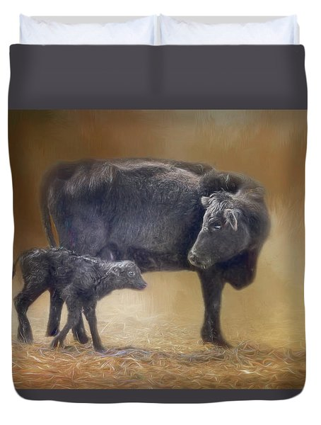 First Walk - Calf And Cow Duvet Cover