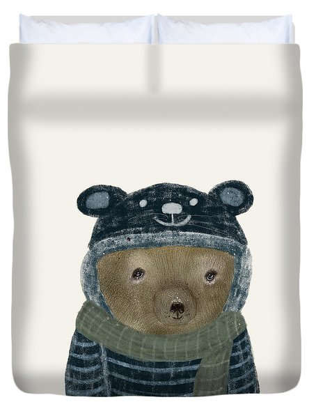 Duvet Cover featuring the painting First Winter Bear by Bri B
