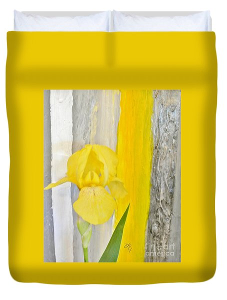 First Yellow Iris Duvet Cover by Marsha Heiken