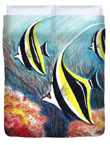 Moorish Idol Fish And Coral Reef Duvet Cover