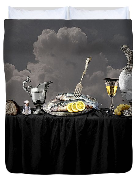 Duvet Cover featuring the digital art Fish Diner In Silver by Alexa Szlavics