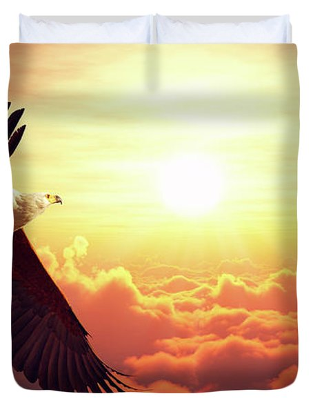 Fish Eagle Flying Above Clouds Duvet Cover