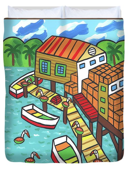 Fish House-cedar Key Duvet Cover