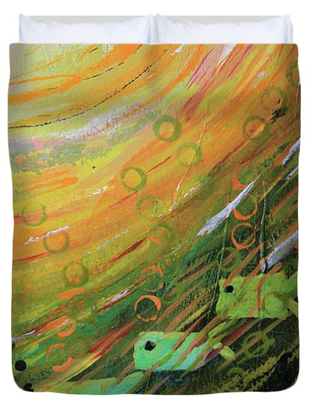 Fish In A Green Sea Duvet Cover