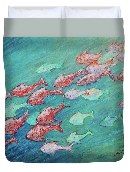 Duvet Cover featuring the painting Fish In Abundance by Xueling Zou