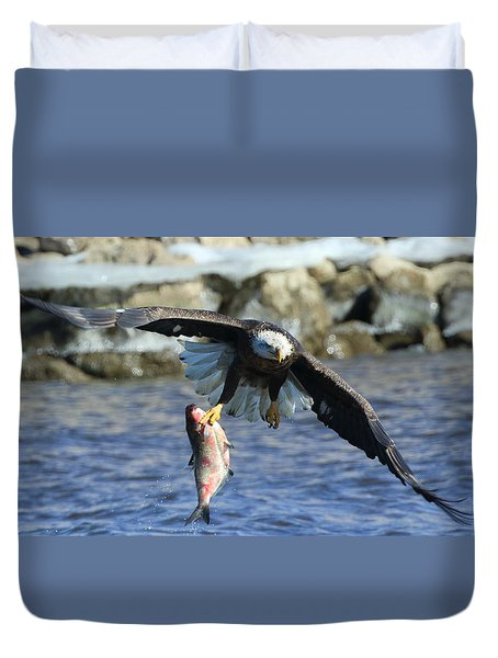 Fish In Hand Duvet Cover by Coby Cooper