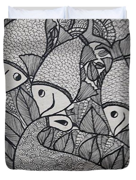 Fish Madhubani Painting Greeting Card Duvet Cover