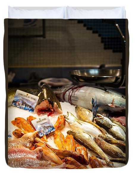 Duvet Cover featuring the photograph Fish Market by Jason Smith