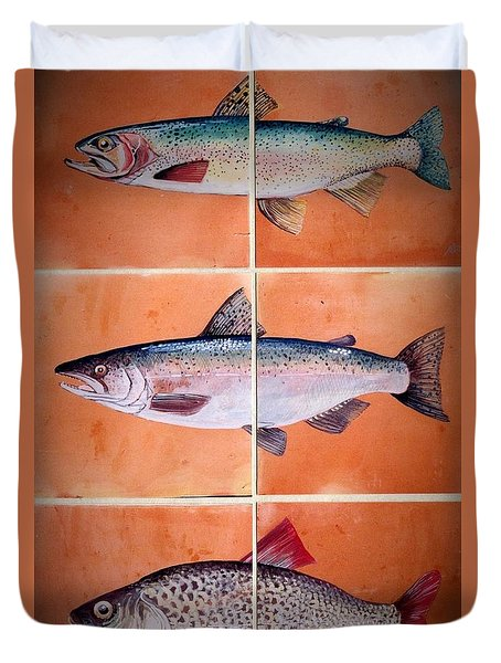 Fish Mural Duvet Cover by Andrew Drozdowicz