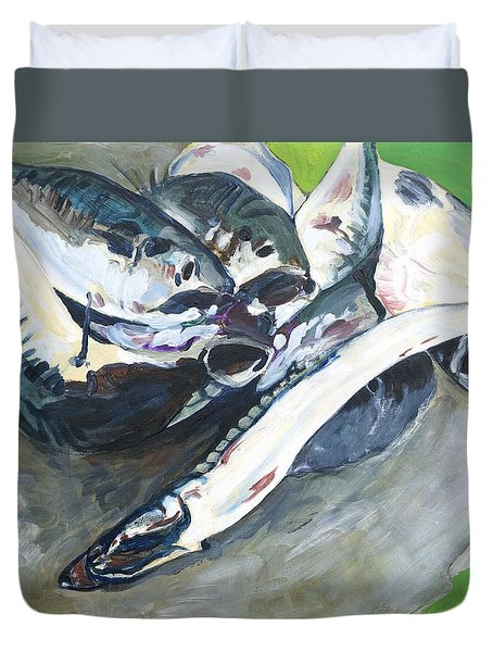 Fish On A Table Duvet Cover