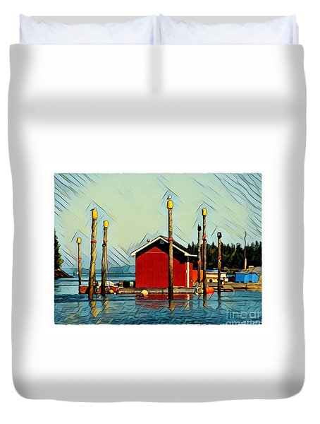 Fish Shack, Campobello Duvet Cover