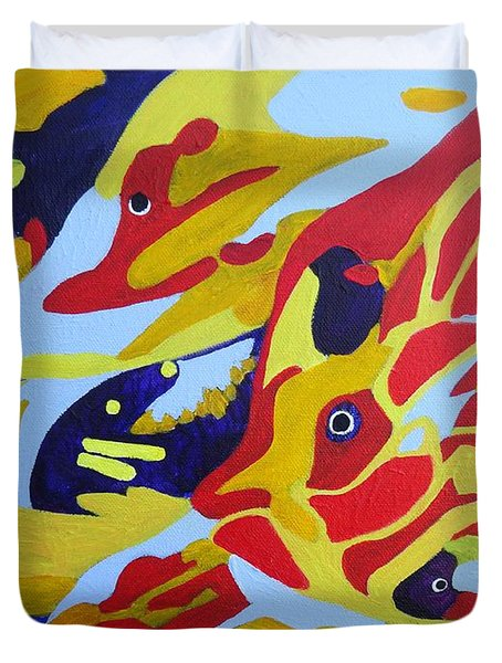 Fish Shoal Abstract 2 Duvet Cover