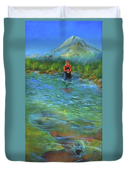 Duvet Cover featuring the painting Fish Story by Jeanette French