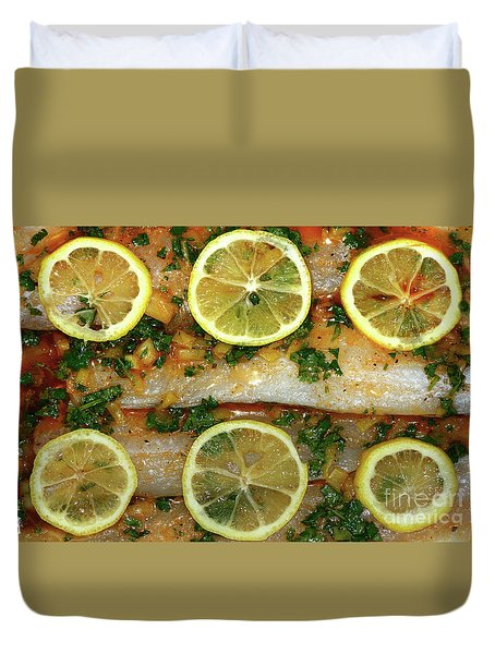 Duvet Cover featuring the photograph Fish With Lemon And Coriander By Kaye Menner by Kaye Menner