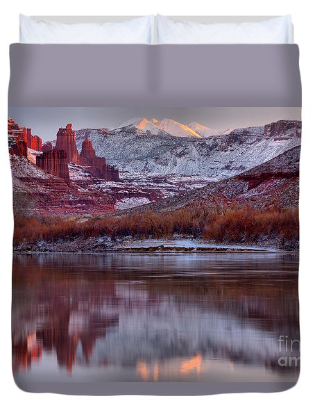 Duvet Cover featuring the photograph Fisher Towers Fading Sunset by Adam Jewell