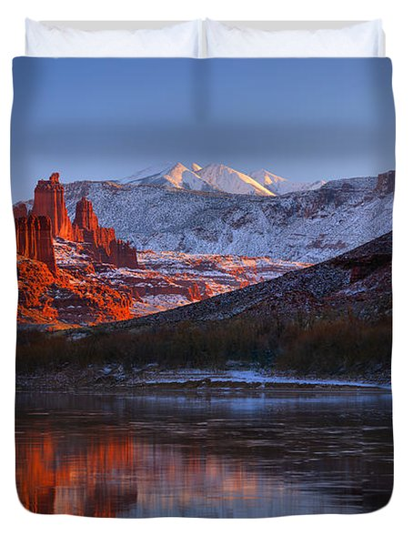 Duvet Cover featuring the photograph Fisher Towers Glowing Reflections by Adam Jewell