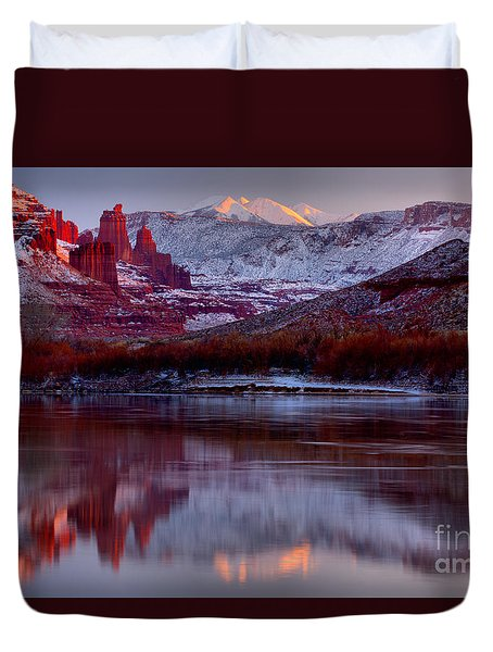 Duvet Cover featuring the photograph Fisher Towers Landscape Glow by Adam Jewell