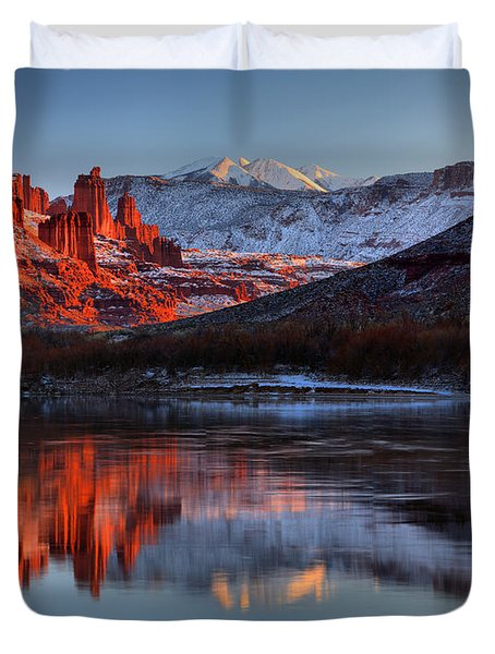 Duvet Cover featuring the photograph Fisher Towers Sunset On The Colorado by Adam Jewell