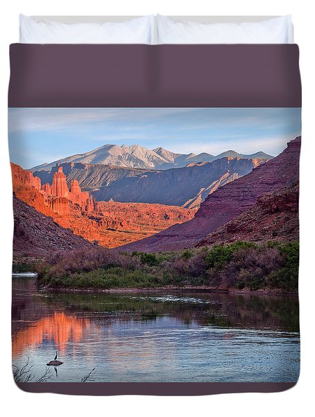 Fisher Towers Sunset Reflection Duvet Cover