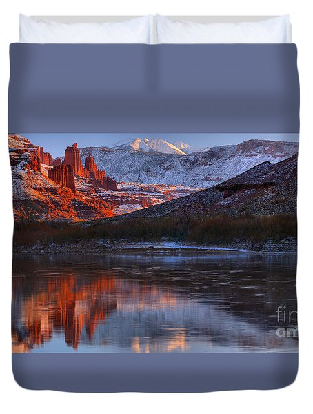 Duvet Cover featuring the photograph Fisher Towers Sunset Reflection Panorama by Adam Jewell