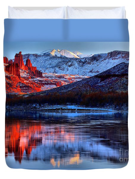 Duvet Cover featuring the photograph Fisher Towers Sunset Winter Landscape by Adam Jewell