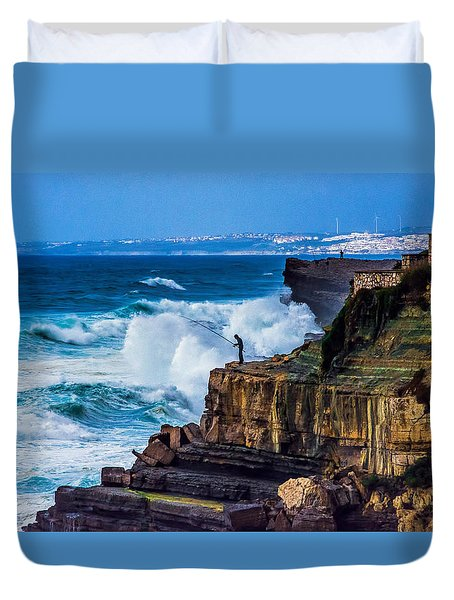 Fisherman And The Sea Duvet Cover by Marion McCristall