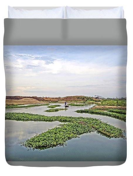 Fisherman  Duvet Cover by Arik S Mintorogo