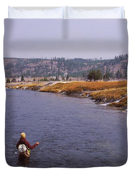 Fisherman Fishing In A River, Firehole Duvet Cover