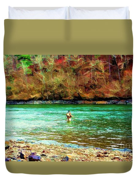 Duvet Cover featuring the photograph Fisherman Hot Springs Ar In Oil by Diana Mary Sharpton
