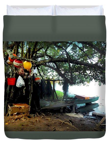 Fishing In Moorea Duvet Cover