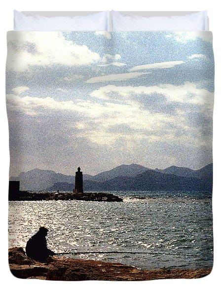 Fisherman In Nice France Duvet Cover by Nancy Mueller