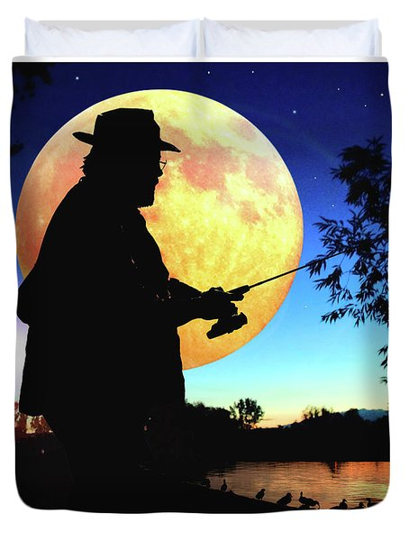 Fisherman In The Moolight Duvet Cover