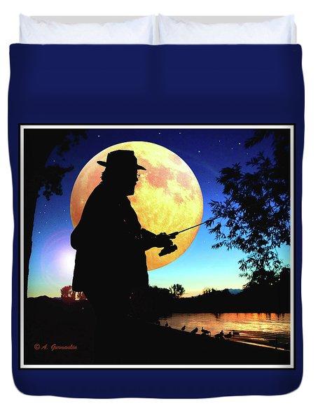 Fisherman In The Moolight Duvet Cover