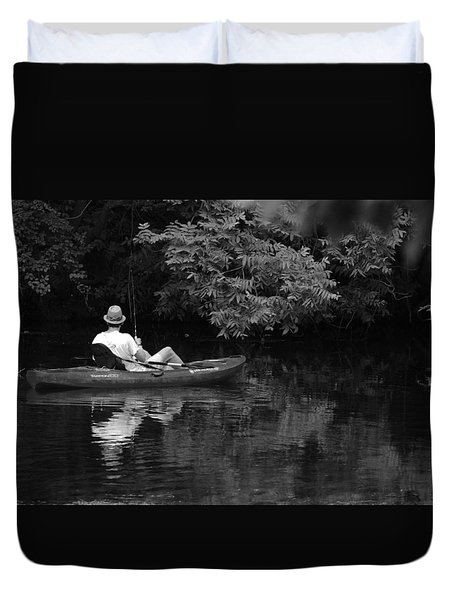 Fisherman On Lady Bird Lake - Bw Duvet Cover
