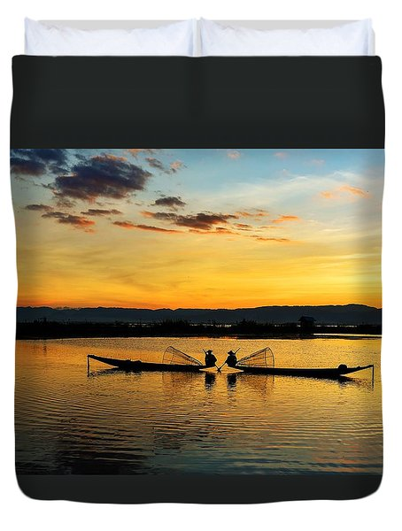 Duvet Cover featuring the photograph Fisherman On Their Boat by Pradeep Raja Prints