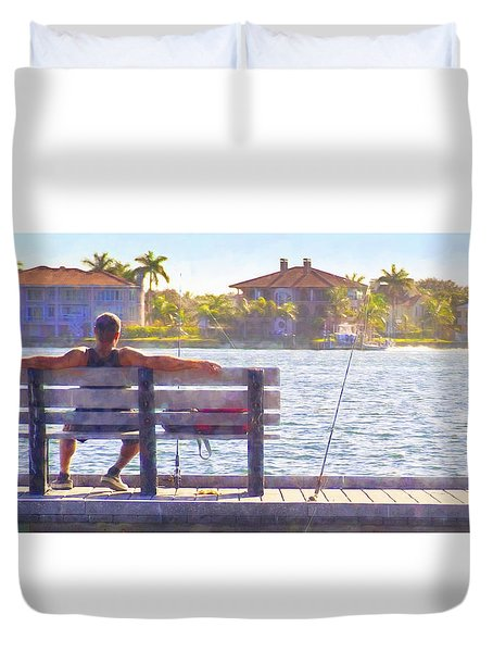 Fisherman Pass A Grille Florida Duvet Cover
