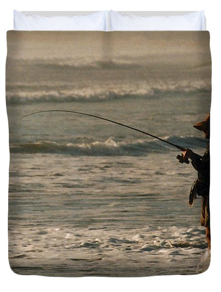 Duvet Cover featuring the photograph Fisherman by Steve Karol