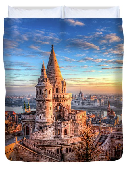 Fisherman's Bastion In Budapest Duvet Cover