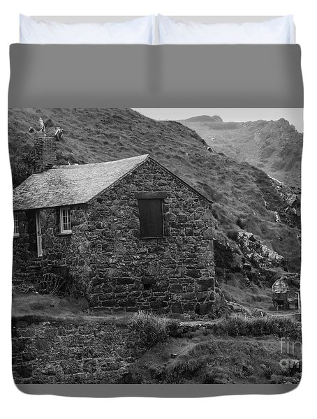 Duvet Cover featuring the photograph Fishermans Net Shed by Brian Roscorla