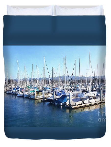 Duvet Cover featuring the photograph Fisherman's Wharf Monterey by Gina Savage