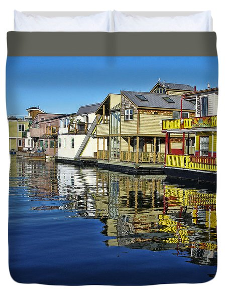 Fisherman's Wharf Duvet Cover by Marilyn Wilson