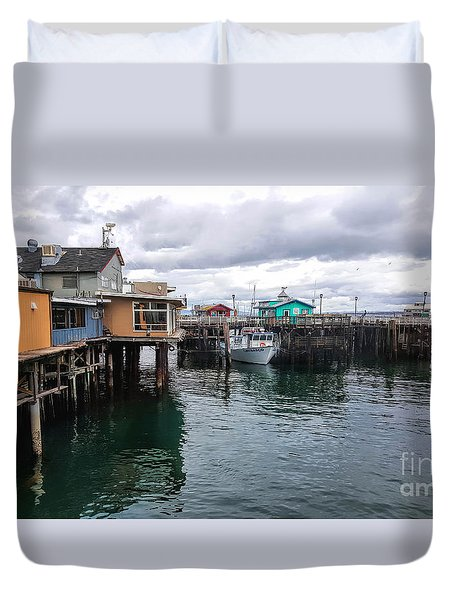 Duvet Cover featuring the photograph Fisherman's Wharf Monterey II by Gina Savage