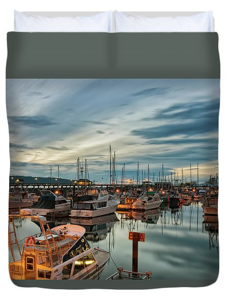 Duvet Cover featuring the photograph Fishermans Wharf by Randy Hall