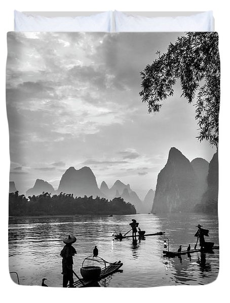 Fishermen At Dawn. Duvet Cover