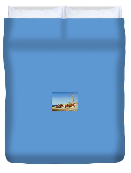 Fishermen By Lighthouse Duvet Cover