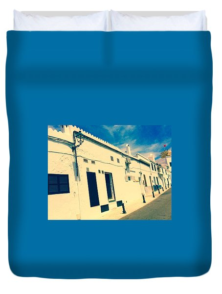 Fishermens' Cottages In Cuitadella Duvet Cover